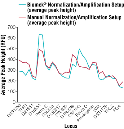 Average peak heights per locus for manual normalization/amplification setup versus automated normalization/amplification setup